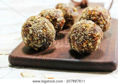 Date Nut Ladoo / Date Energy Protein Balls selective focus