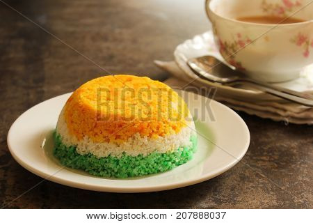 Indian Flag Food Tri Color Steamed rice cake or Puttu for Indipendence Day selective focus