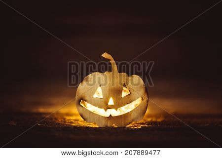 Halloween grinning pumpkin mystery grinning face dark
