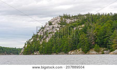 White Quartzite Cliffs on a George Lake in Killarney Provincial Park