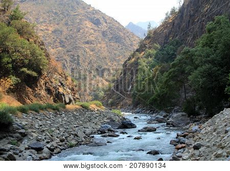 King river in canyon in California, USA