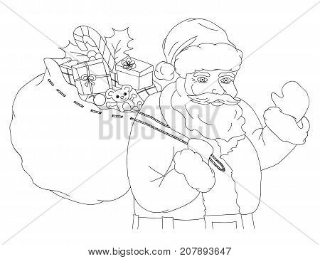 Christmas vector illustration with Santa Claus carrying a sack full of gifts black and white