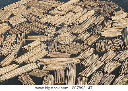 Log Booms in a bay on Okanagan Lake Kelowna British Columbia Canada