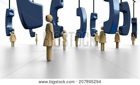 Telephone survey on male and female respondents with everyone in focus, telephones hanging - 3d illustration in transparent PNG