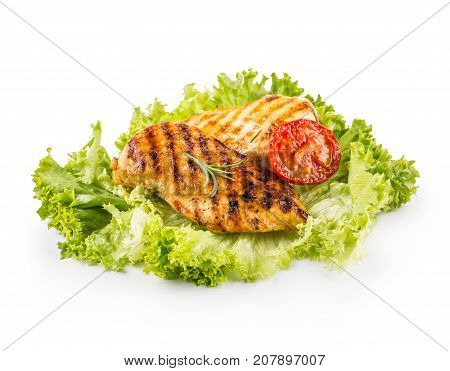 Grill Chicken Breast. Roasted And Grill Chicken Breast With Lettuce Salad Tomatoes And Mushrooms Iso