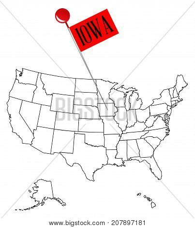 An outline map of USA with a knob pin in the state of Iowa