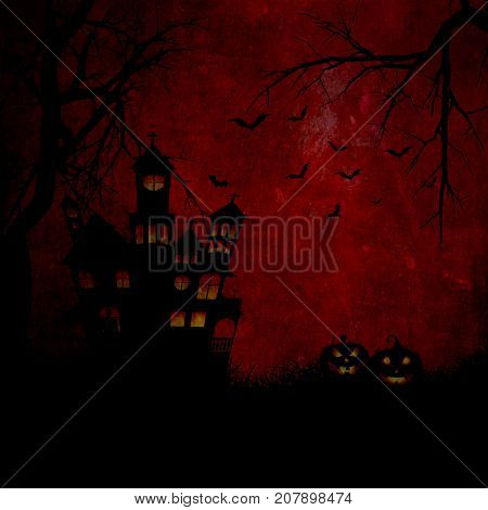 Grunge style Halloween background with haunted house and pumpkins