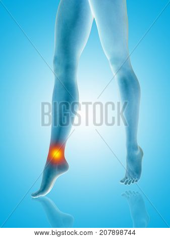 Conceptual beautiful woman or girl legs and feet with a hurt ankle pain or ache closeup, 3D illustration of human slim fit body medical or health care concept, painful sport injury on blue background poster