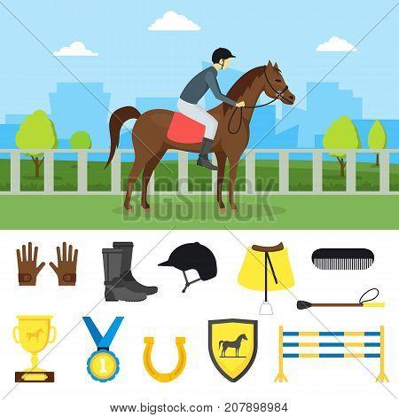 Cartoon Equipment Jockey on a Landscape Background and Element Set Sport Concept Flat Design Style. Vector illustration of Equipments Equestrian