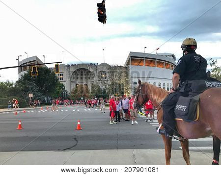 COLUMBUS, OHIO - OCTOBER 7, 2017:  Security is tight at Ohio Stadium, home of the Ohio State Buckeyes.