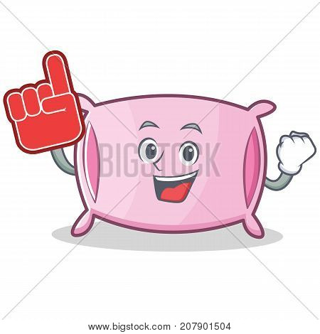 Foam finger pillow character cartoon style vector illustration