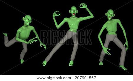 Set of three made in 3D green goblins. Can be used for Halloween themed decorations. Isolated, black background.