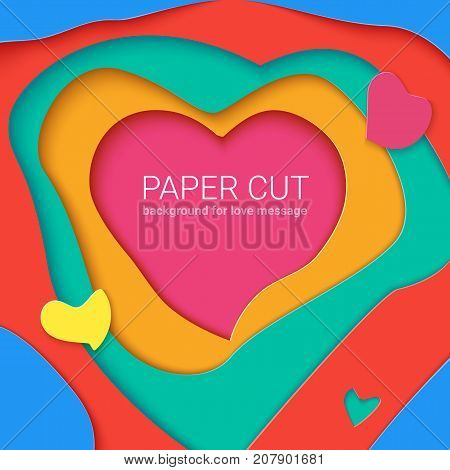 Templates with paper cut in shapes of heart , modern abstract design. Vector 3D Illustration, papercut shapes with shadow. Realistic multi layers, carving of paper