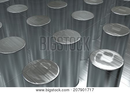 Plain Brushed Metal Surface With Cylinders