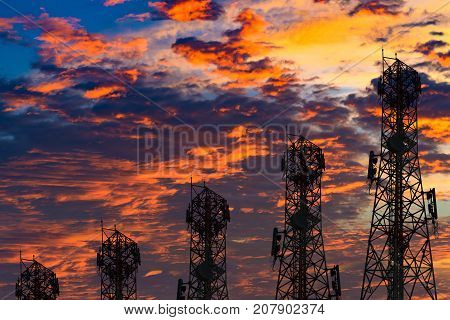 Silhouette Of The Antenna Of Cellular Cell Phone And Communication System Tower Arranged As A Bar Ch