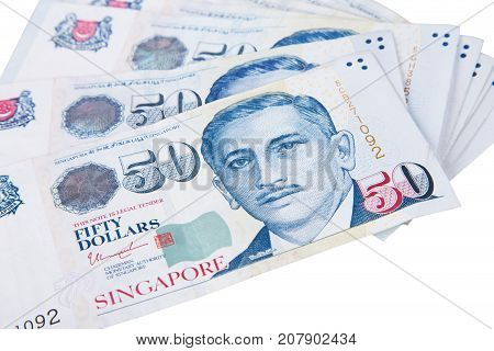 Singapore Banknotes Dollars (50 Sgd) Isolated On White Background