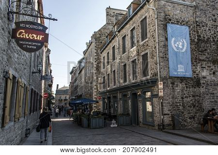 Quebec City Canada 13.09.2017 - Place Royale Royal Plaza and Notre Dame des Victories Church UNESCO world heritage treasure