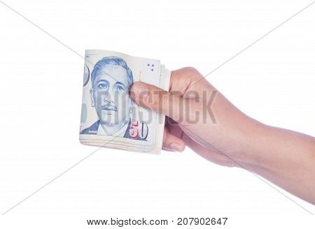 Hand With Singapore Banknotes Dollars (50 Sgd) Isolated On White Background