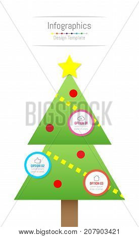 Infographic design elements for your business data with 3 options parts steps timelines or processes. Christmas tree concept Vector Illustration.