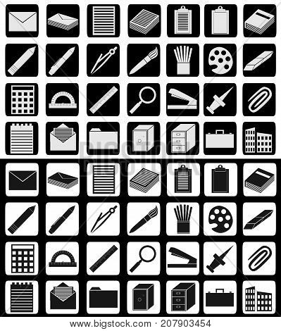 Set of office supply, work and studying related icons in white-black and reversed colors