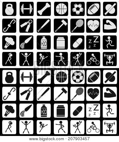 Set of sports and active lifestyle related icons in white-black and reversed colors.
