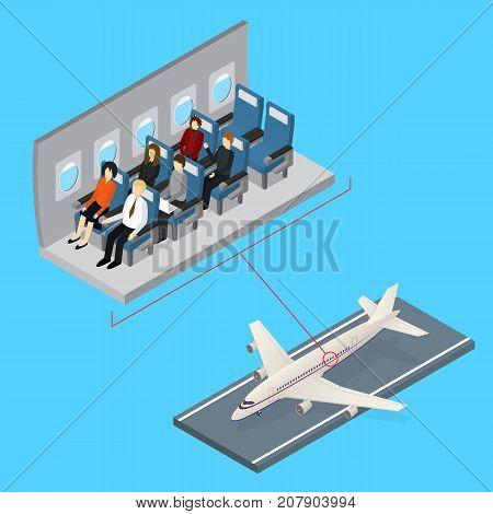 Aircraft Interior and Plane Isometric View Jet Passenger on Comfort Seat Flight Economy Class Service. Vector illustration
