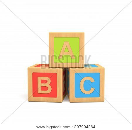 3d rendering of three wooden toy cubes with ABC lettering isolated on white background. Learning basic. Literacy. Learn through play.