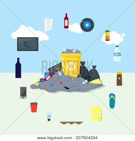 Garbage Dump or Landfill Card Poster on a Urban Landscape Background Symbol of Pollution Environment. Vector illustration
