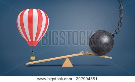 3d rendering of a striped air balloon hovers at a wooden seesaw overweighing a wrecking ball that breaks the plank. Traveling plans. Unexpected problems. Recreation and work.