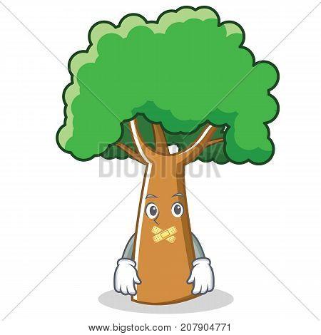 Silent tree character cartoon style vector illustration