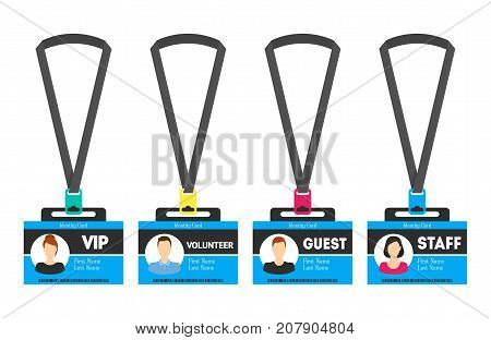 Id Card Template Color Plastic Badge Flat Style Design Element for Speaker, Guest, Staff and Volunteer Isolated on White Background. Vector illustration