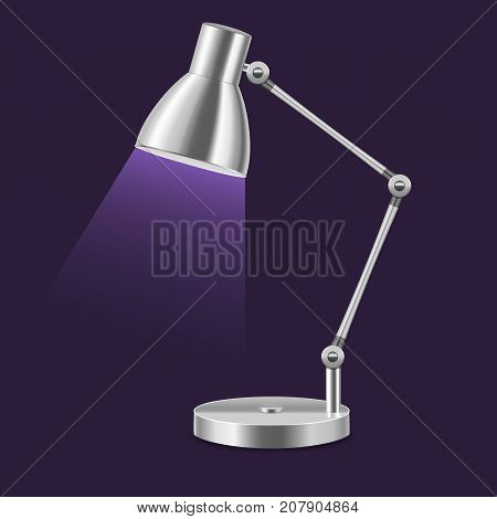Realistic Template Blank Metal Table Lamp Illuminate Interior Office or Home on a Dark Background. Vector illustration