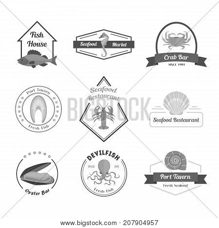 Cartoon Silhouette Black Seafood Badges or Labels Set for a Bar, Restaurant, Tavern or House. Flat Design Style. Vector illustration
