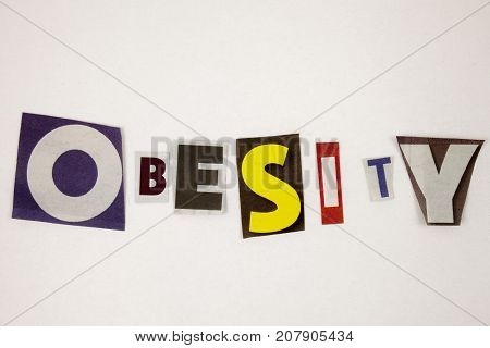 Obesity, Health Concept Businnes. Separated letter on the white beckgoung
