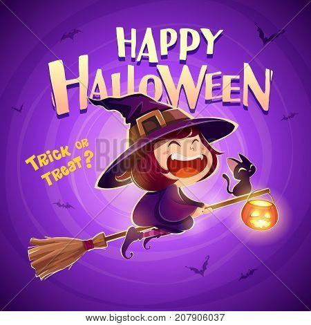 Happy Halloween. Halloween flying little witch. Girl kid in halloween costume flies with black cat and pumpkin lantern. Retro vintage. Purple background.