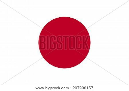 Flag of Japan in national official colors and proportions vector