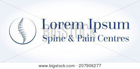 Vector logo template. Spine pain medical center, clinic, institute, rehabilitation, diagnostic, surgery, spinal icon symbol design. Concept of scoliosis. isolated. flat modern silhouette illustration