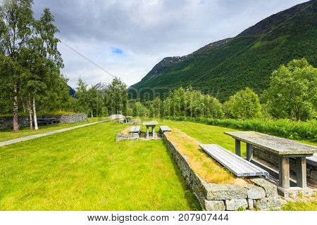 Camp Site With Picnic Table In Norwegian Mountains