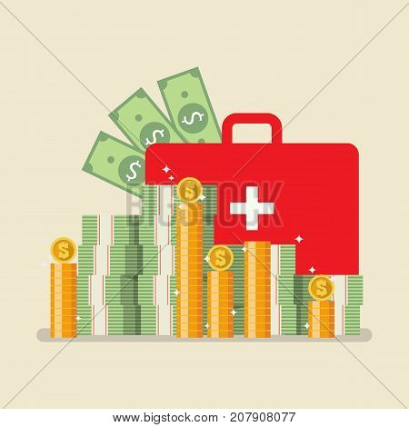 Medical bag with money. Health insurance concept