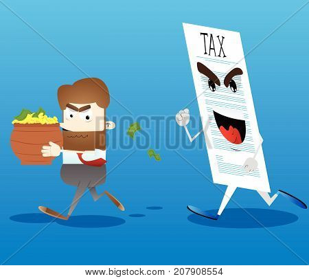 Business office worker running away from tax with a pot of money in his hands. Vector cartoon illustration.