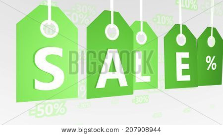 Green Sales Tags Illustration