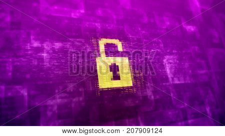Abstract Cyberspace Lock Sign