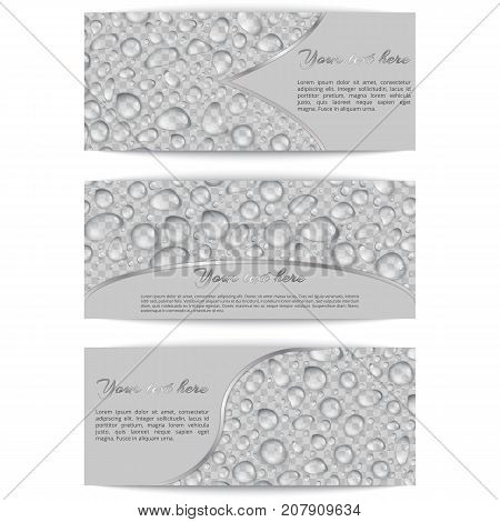 A collection of rectangular banners with transparent drops of water on a checkered background. Editable vector elements for web design.