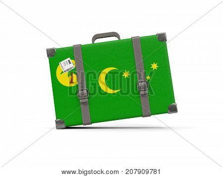 Luggage With Flag Of Cocos Islands. Suitcase Isolated On White