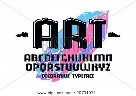 Decorative engraving sanserif font with effect of volume. Letters for logo and title design