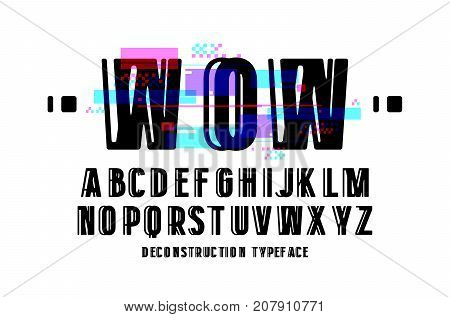 Decorative sanserif font. Letters with glitch distortion effect. Design for logo and title