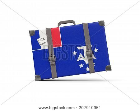 Luggage With Flag Of French Southern Territories. Suitcase Isolated On White