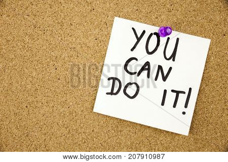 Yellow note paper with inscription you can do it on the white board on cork board background. Businnes Concept