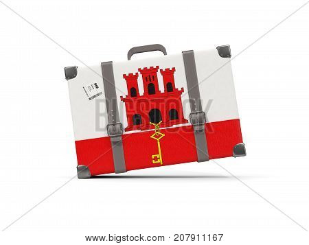 Luggage With Flag Of Gibraltar. Suitcase Isolated On White