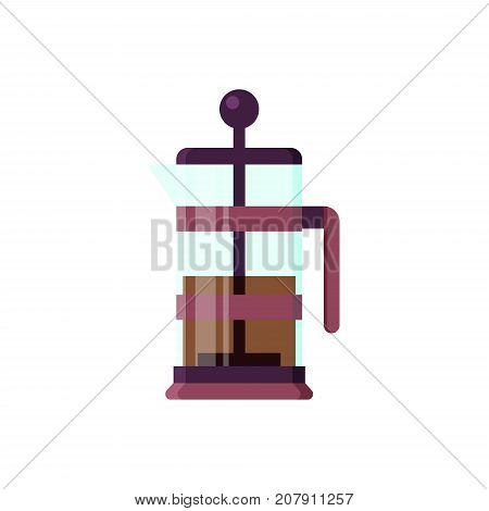 Vector flat brewer icon logo isolated on white background. Tea symbol, design element for restaurant menu, recipe, kitchen - stock illustration.